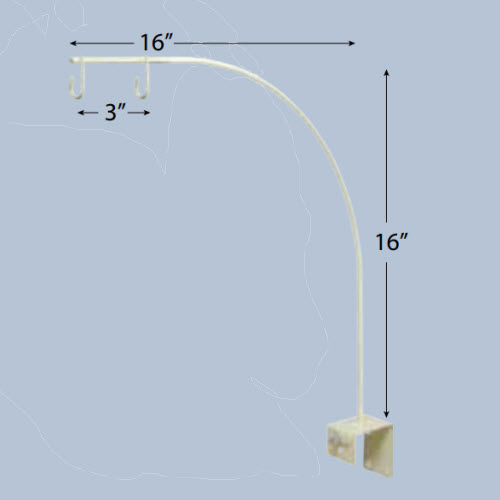 "Two Hook Single 16"" ArcArm Clamp Mount"