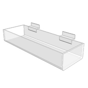 12 x 4.25 x 2 Acrylic Slatwall Shelf Tray
