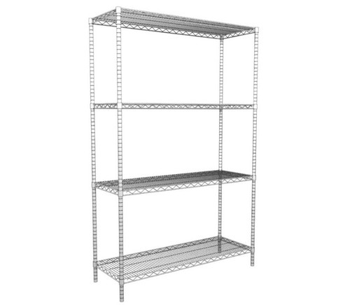Four Post Wire Shelving System, Charcoal